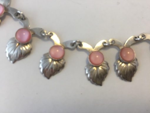 Danish necklace & bracelet set with pink stones detail