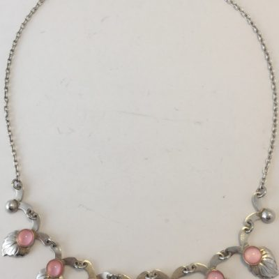 Danish Leaf Necklace with Pink Stones