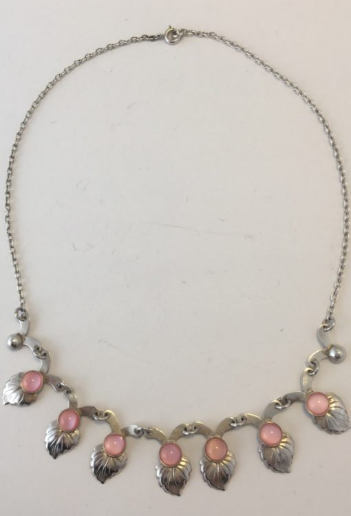 Danish necklace & bracelet set with pink stones