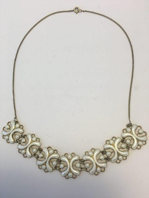 Norwegian White Enamel Necklace