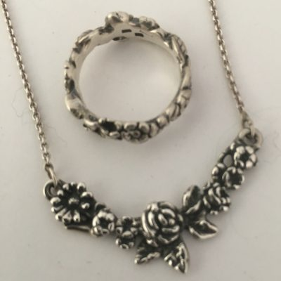 Danish Delicate Rose/Flower Necklace with matching Ring
