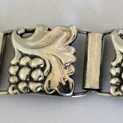 Danish Art Deco Grape & Vine Linked Bracelet