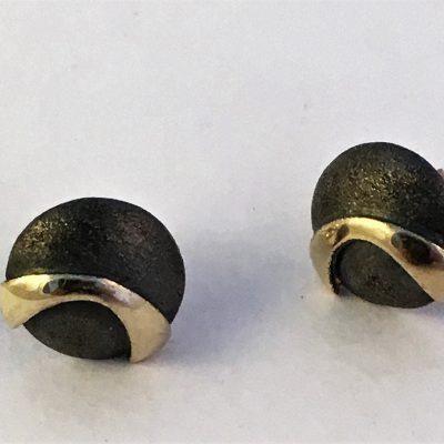 Oxidised Danish Silver/Gilt Dome Earrings