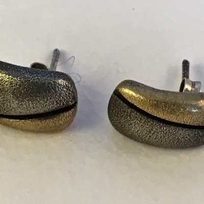 Danish Oxidised Silver/Gilt Bean Earrings
