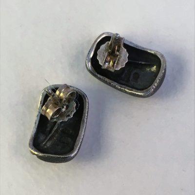 Danish Oxidised Silver/Gilt Bean Earrings