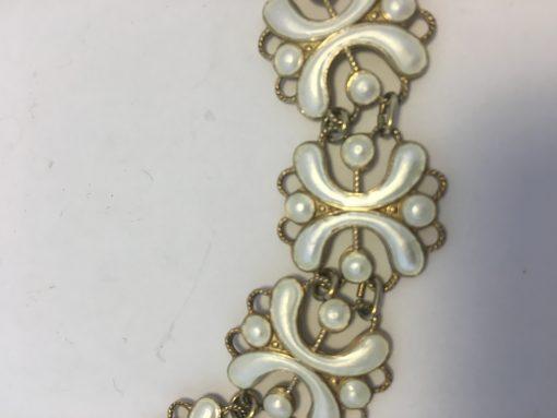 Norwegian white enamel necklace detail