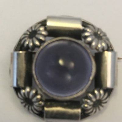 Danish SCF Brooch with Purple Stone
