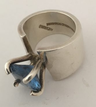 Danish Heiring Ring Set with Large Blue Stone EKH249