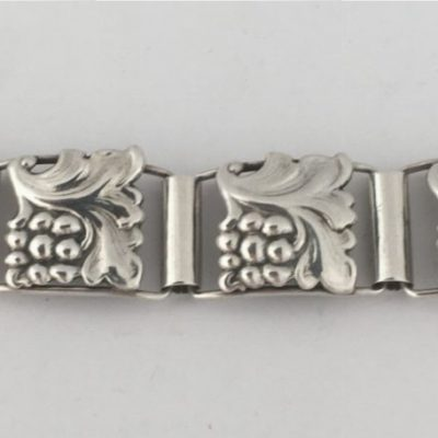 Danish Art Deco Grape & Vine Linked Bracelet