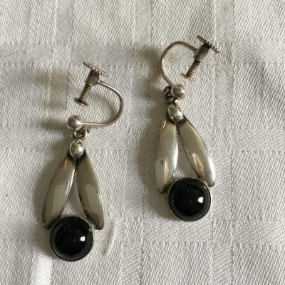 Danish Onyx Drop Earrings with Screw fitting