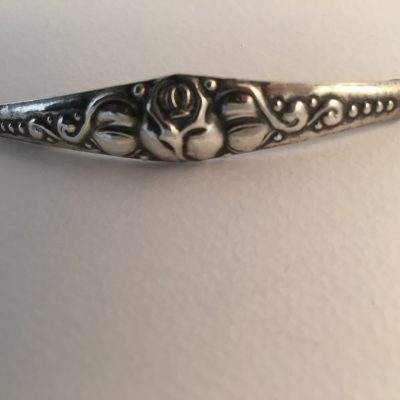 Danish CA Bar Brooch with Central Rose