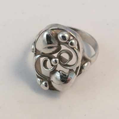Danish Silver Oval Leaf & Tendril Ring