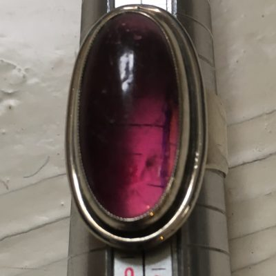 Danish SCF Ring with Dark Pink Stone