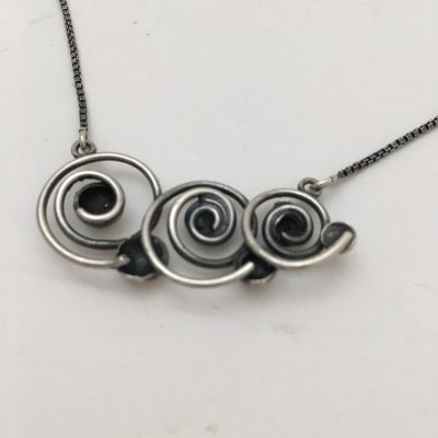 Danish HS Spiral & 5 Ball Necklace