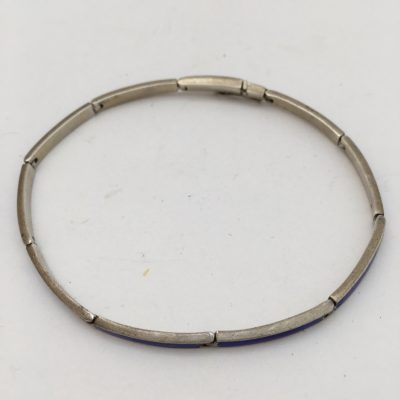 Danish Narrow Blue Enamel Bracelet