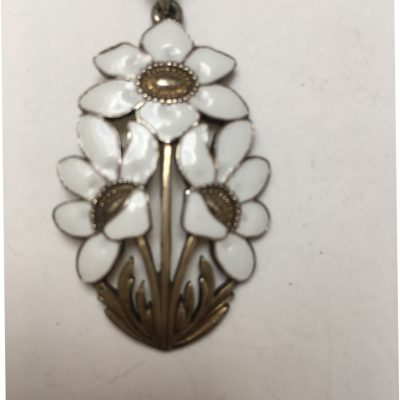 White Enamel Silver Gilt Triple Flower Pendant