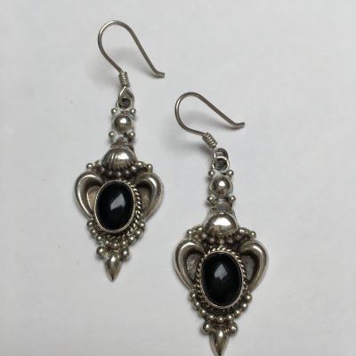 Silver Onyx Drop Earrings