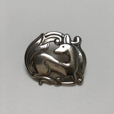 Danish Christian Veilskov Kneeling Deer Brooch