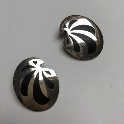 Danish Kai Erling Feiling Black Enamel & Silver Earrings