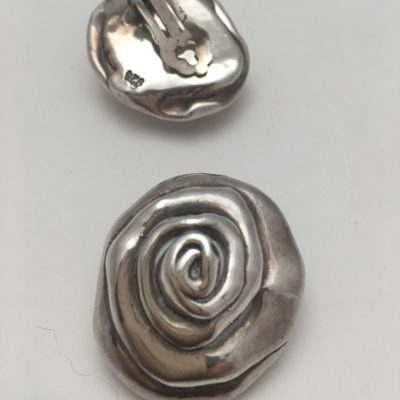 Large Clip On Rose Earrings