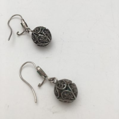 Danish Filigree Sphere-shaped drop Earrings