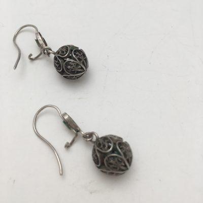 Danish Filigree Sphere-shaped drop Earrings