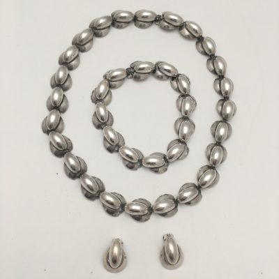 Hermann Siersbol Danish Silver Necklace , Earrings and Bracelet Set