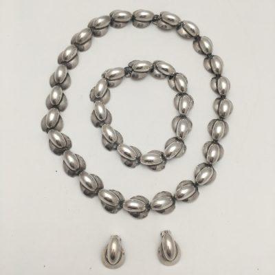 Hermann Siersbol Danish Silver Necklace  and Bracelet Set