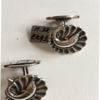 Danish Circular cufflinks with fish motif
