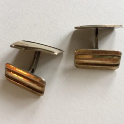 Danish Hammered Silver-Gilt Cufflinks